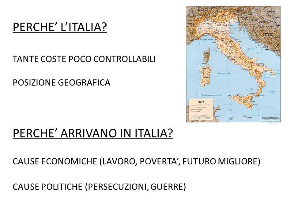 PERCHE' L'ITALIA. TANTE COSTE POCO CONTROLLABILI POSIZIONE GEOGRAFICA PERCHE' ARRIVANO IN ITALIA.