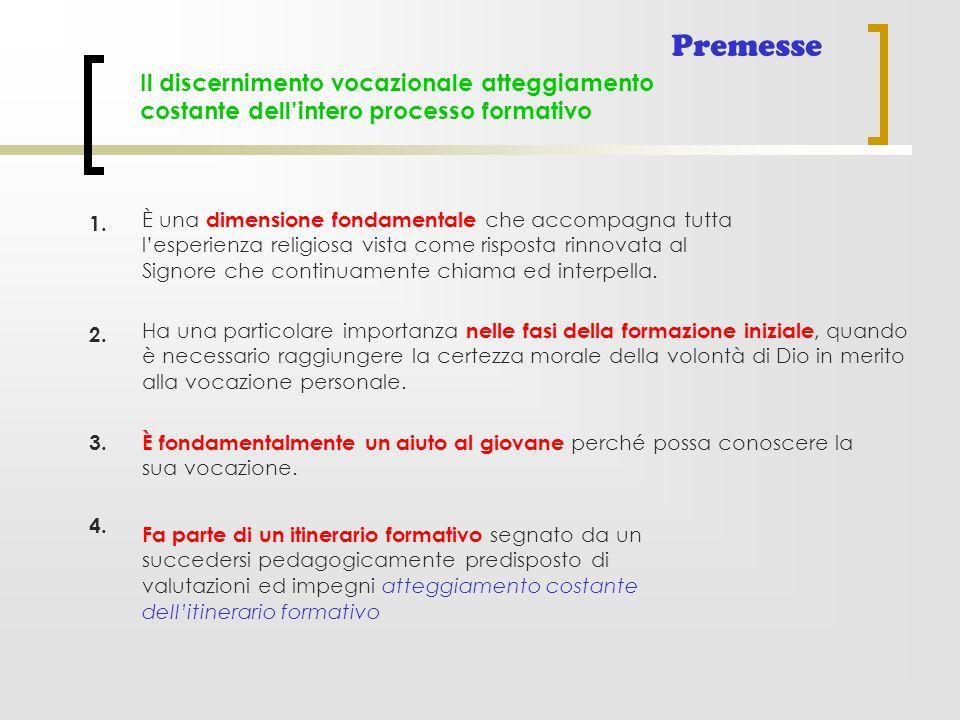Il discernimento vocazionale atteggiamento costante dell'intero processo formativo Premesse È una dimensione fondamentale che accompagna tutta l'esper