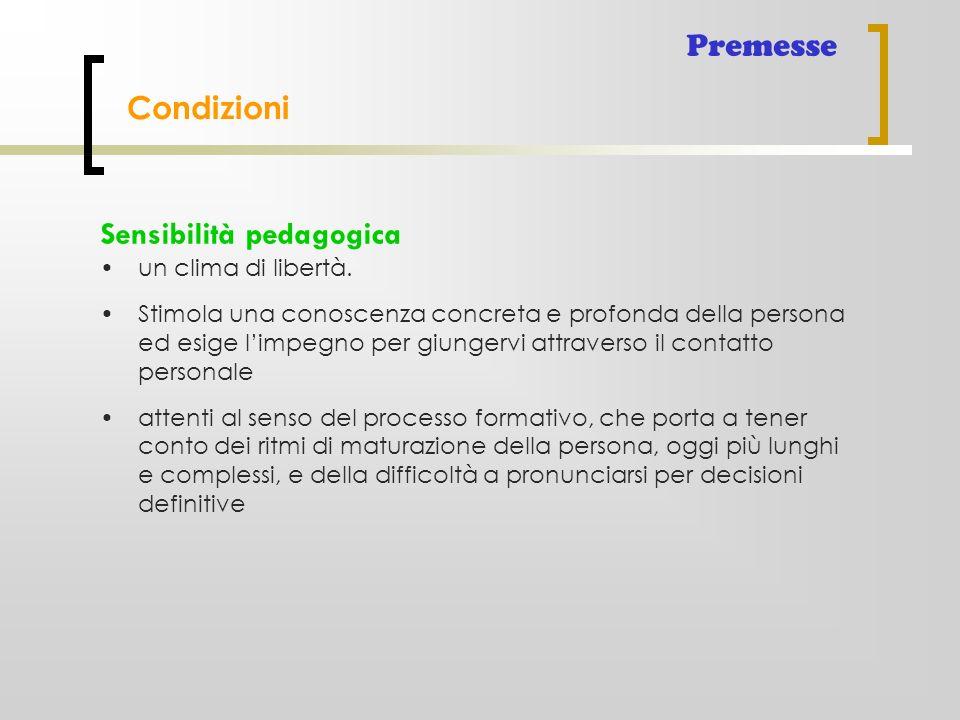 Condizioni Premesse Sensibilità pedagogica un clima di libertà. Stimola una conoscenza concreta e profonda della persona ed esige l'impegno per giunge