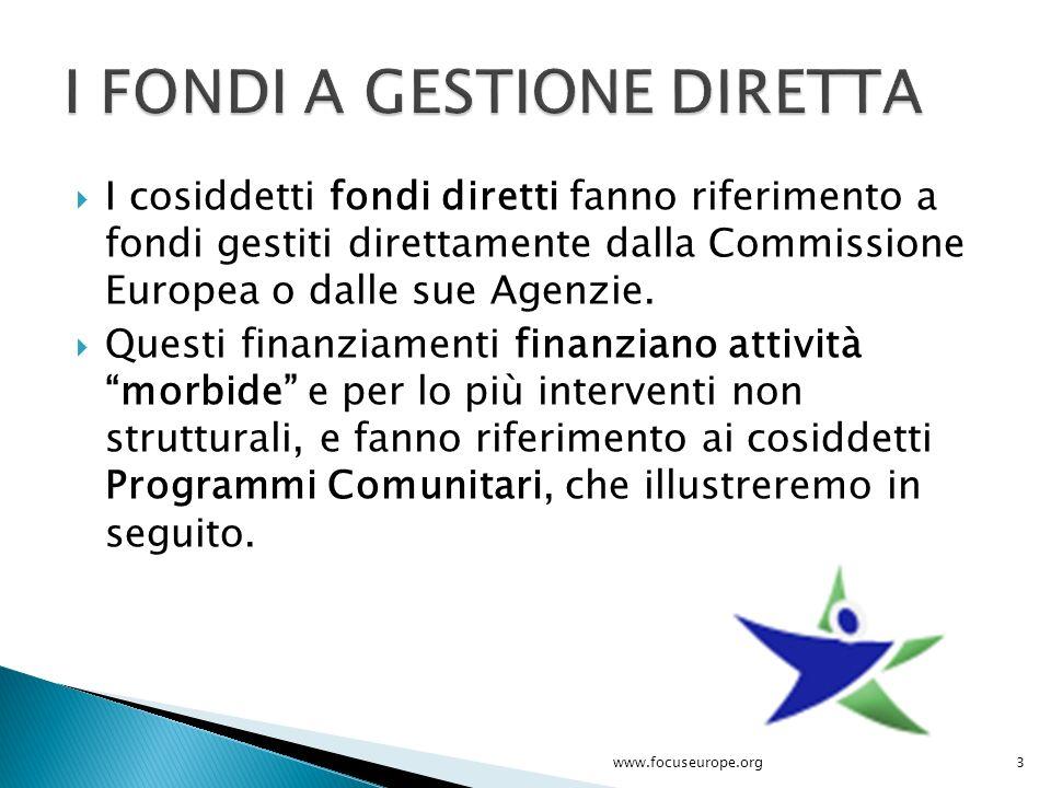  I cosiddetti fondi diretti fanno riferimento a fondi gestiti direttamente dalla Commissione Europea o dalle sue Agenzie.  Questi finanziamenti fina