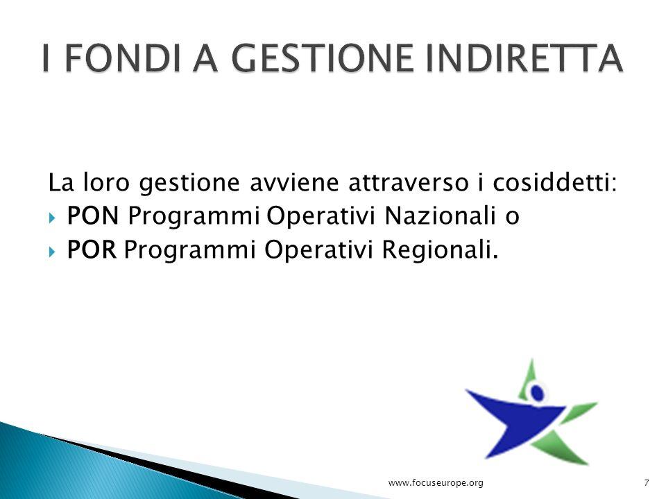 La loro gestione avviene attraverso i cosiddetti:  PON Programmi Operativi Nazionali o  POR Programmi Operativi Regionali. 7www.focuseurope.org