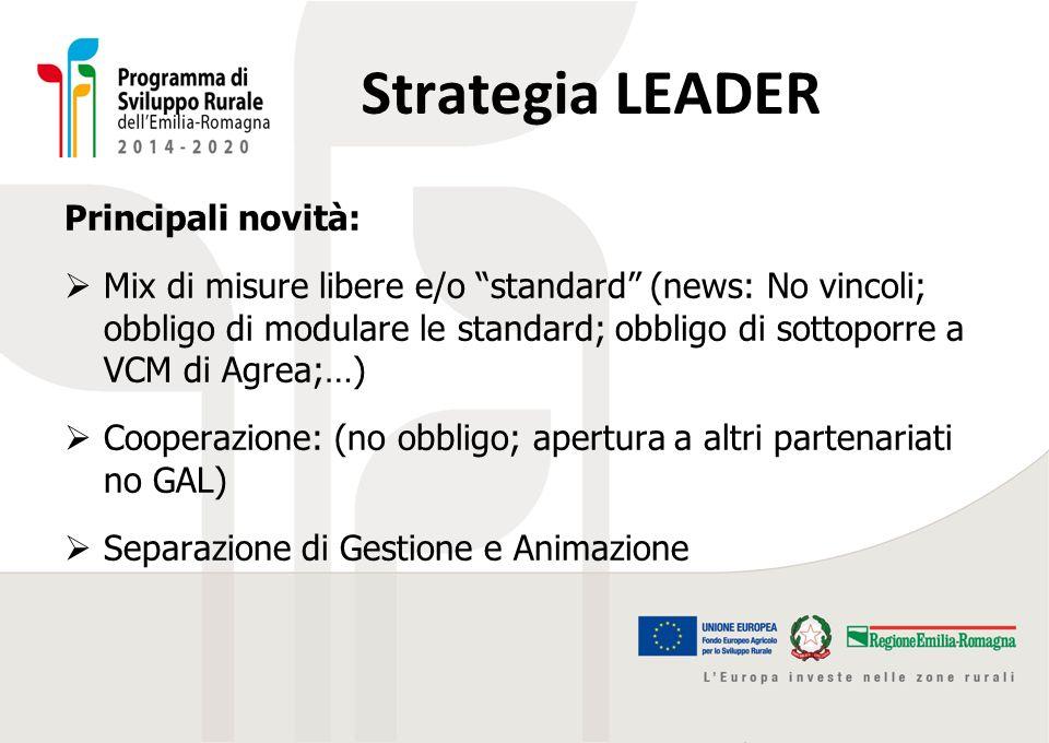 """Strategia LEADER Principali novità:  Mix di misure libere e/o """"standard"""" (news: No vincoli; obbligo di modulare le standard; obbligo di sottoporre a"""