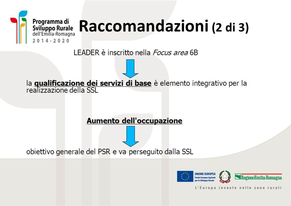 Raccomandazioni (2 di 3) LEADER è inscritto nella Focus area 6B qualificazione dei servizi di base la qualificazione dei servizi di base è elemento in