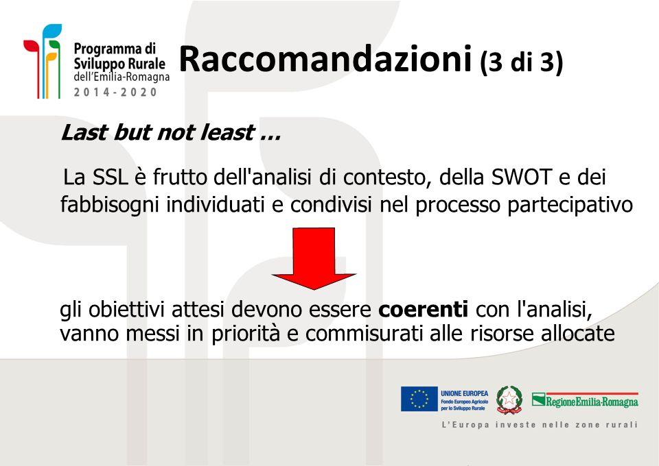 Raccomandazioni (3 di 3) Last but not least … La SSL è frutto dell'analisi di contesto, della SWOT e dei fabbisogni individuati e condivisi nel proces