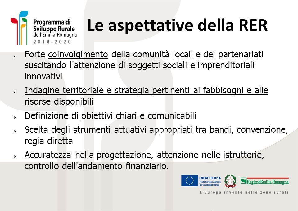 Le aspettative della RER  Forte coinvolgimento della comunità locali e dei partenariati suscitando l'attenzione di soggetti sociali e imprenditoriali