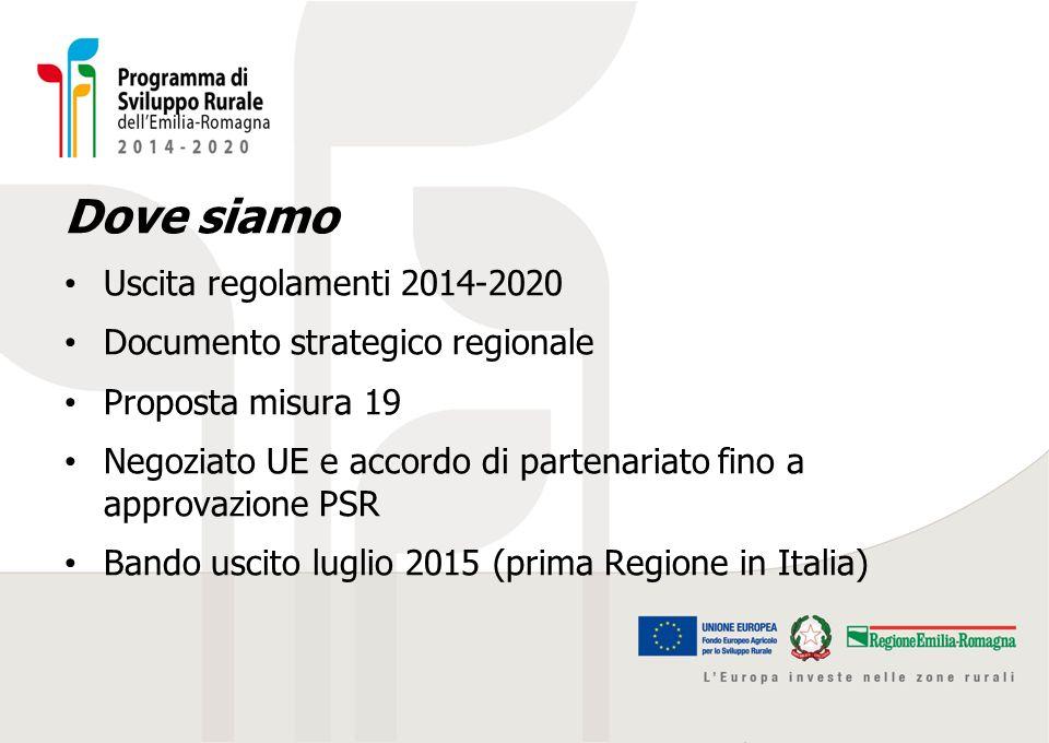 Dove siamo Uscita regolamenti 2014-2020 Documento strategico regionale Proposta misura 19 Negoziato UE e accordo di partenariato fino a approvazione P
