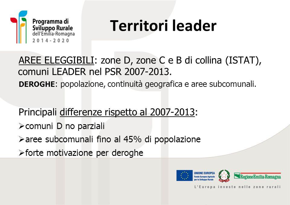 Territori leader AREE ELEGGIBILI: zone D, zone C e B di collina (ISTAT), comuni LEADER nel PSR 2007-2013. DEROGHE : popolazione, continuità geografica