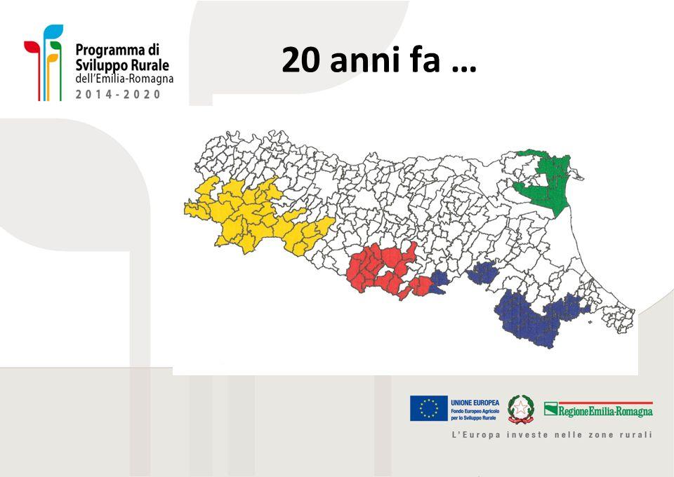 Descrizione accessibile della slide precedente La slide illustra le aree regionali interessate da LEADER vent'anni fa.