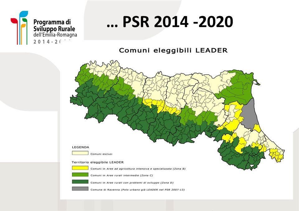 Descrizione accessibile della slide precedente I territori LEADER del PSR 2014-2020 comprendono l'intera fascia collinare-montana regionale e gran parte della bassa pianura ferrarese e ravennate.