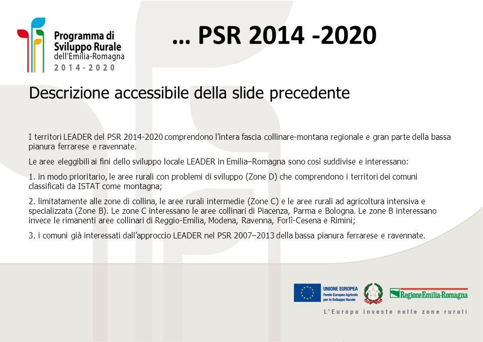 Descrizione accessibile della slide precedente I territori LEADER del PSR 2014-2020 comprendono l'intera fascia collinare-montana regionale e gran par