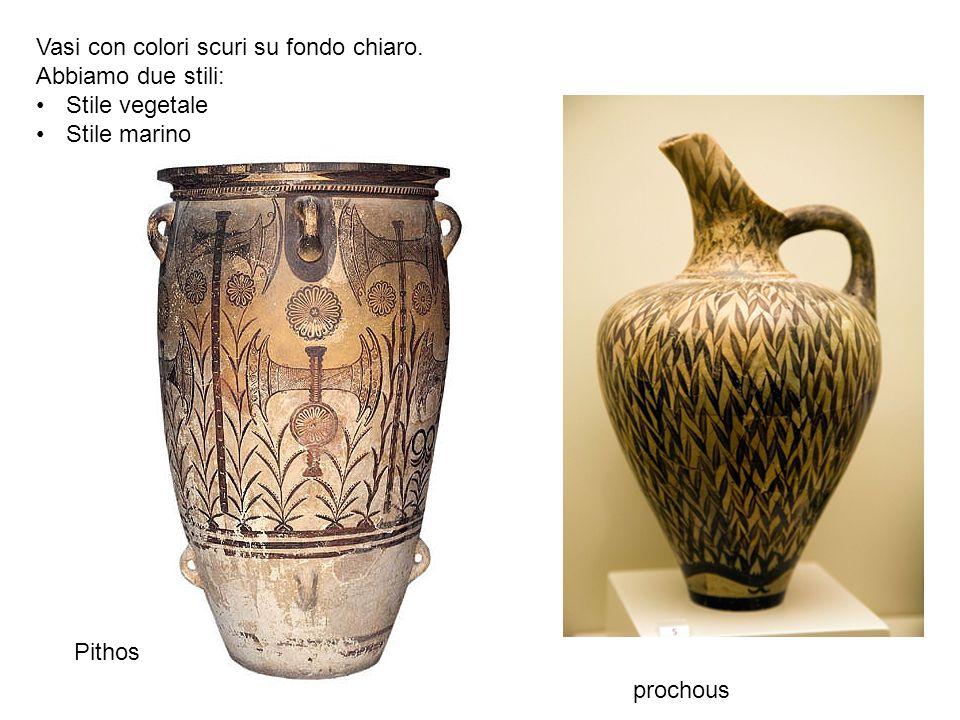 Pithos Vasi con colori scuri su fondo chiaro. Abbiamo due stili: Stile vegetale Stile marino prochous