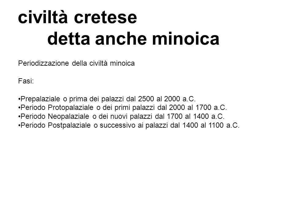 civiltà cretese detta anche minoica Periodizzazione della civiltà minoica Fasi: Prepalaziale o prima dei palazzi dal 2500 al 2000 a.C. Periodo Protopa
