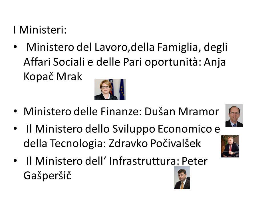 I Ministeri: Ministero del Lavoro,della Famiglia, degli Affari Sociali e delle Pari oportunità: Anja Kopač Mrak Ministero delle Finanze: Dušan Mramor