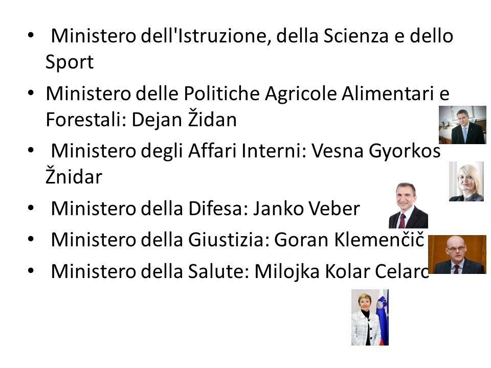 Ministero dell'Istruzione, della Scienza e dello Sport Ministero delle Politiche Agricole Alimentari e Forestali: Dejan Židan Ministero degli Affari I