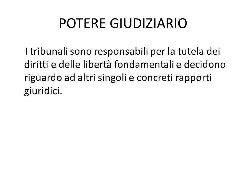 POTERE GIUDIZIARIO I tribunali sono responsabili per la tutela dei diritti e delle libertà fondamentali e decidono riguardo ad altri singoli e concreti rapporti giuridici.