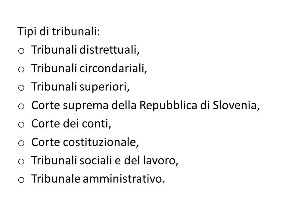 Tipi di tribunali: o Tribunali distrettuali, o Tribunali circondariali, o Tribunali superiori, o Corte suprema della Repubblica di Slovenia, o Corte dei conti, o Corte costituzionale, o Tribunali sociali e del lavoro, o Tribunale amministrativo.