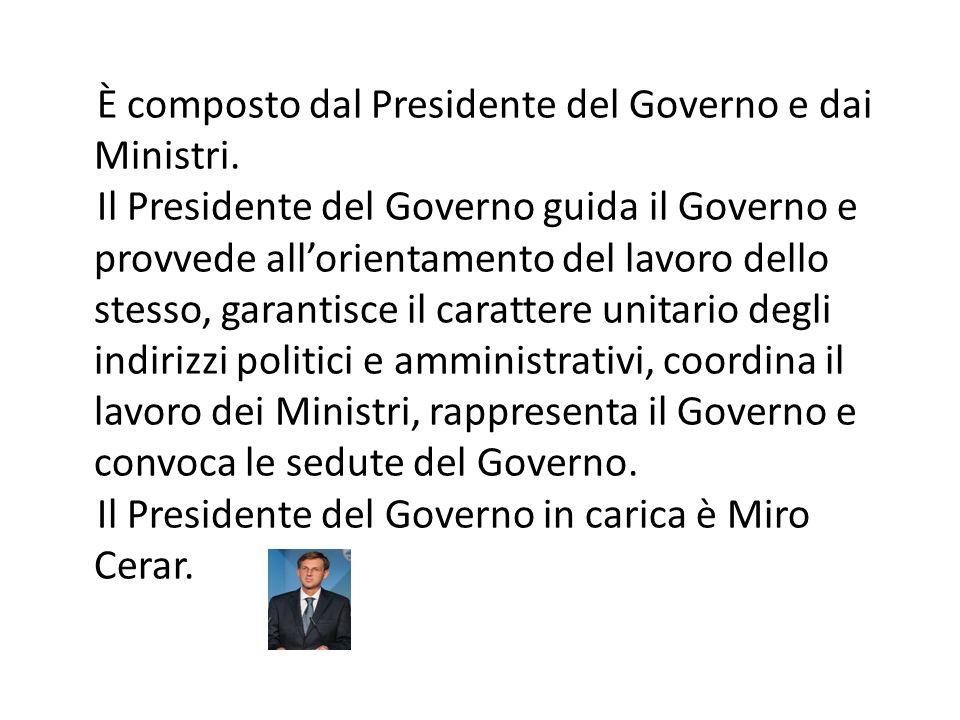 È composto dal Presidente del Governo e dai Ministri. Il Presidente del Governo guida il Governo e provvede all'orientamento del lavoro dello stesso,