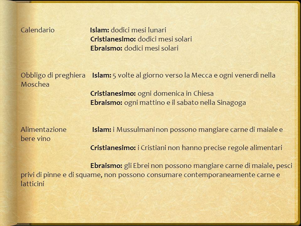 Calendario Islam: dodici mesi lunari Cristianesimo: dodici mesi solari Ebraismo: dodici mesi solari Obbligo di preghiera Islam: 5 volte al giorno vers