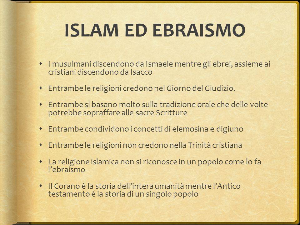 ISLAM ED EBRAISMO  I musulmani discendono da Ismaele mentre gli ebrei, assieme ai cristiani discendono da Isacco  Entrambe le religioni credono nel