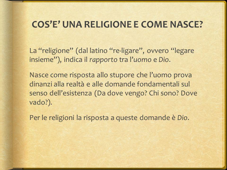 """COS'E' UNA RELIGIONE E COME NASCE? La """"religione"""" (dal latino """"re-ligare"""", ovvero """"legare insieme""""), indica il rapporto tra l'uomo e Dio. Nasce come r"""