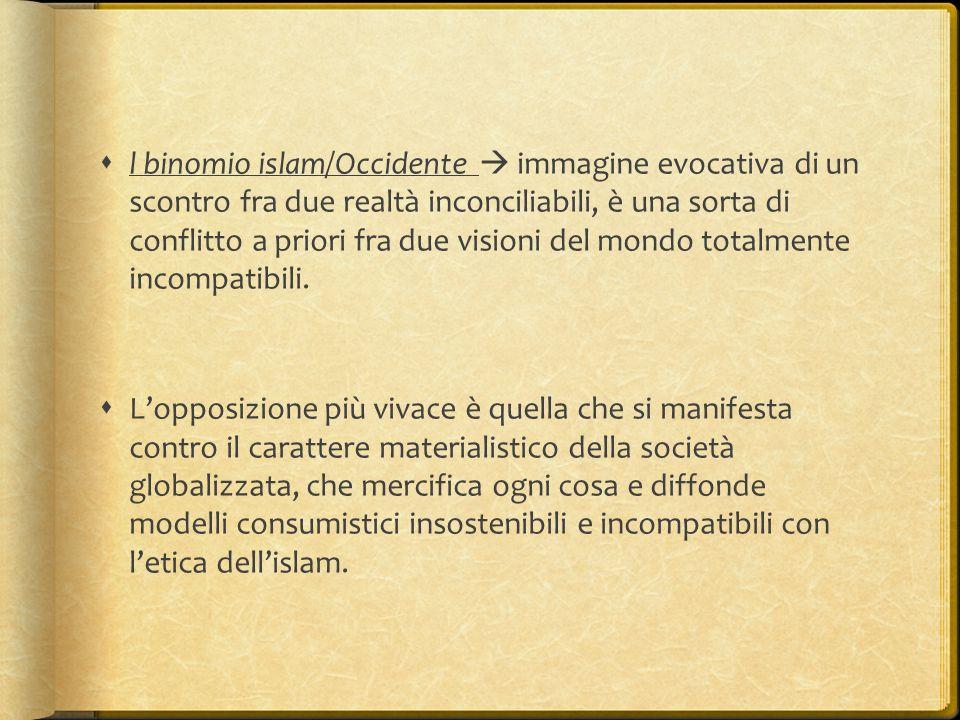  l binomio islam/Occidente  immagine evocativa di un scontro fra due realtà inconciliabili, è una sorta di conflitto a priori fra due visioni del mo