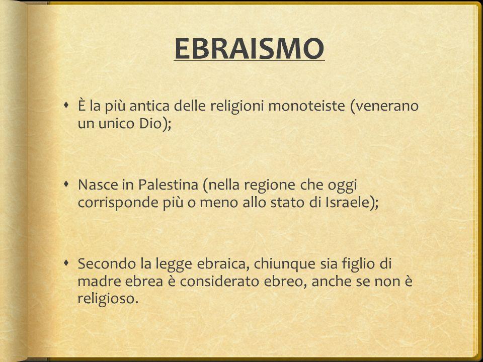 EBRAISMO  È la più antica delle religioni monoteiste (venerano un unico Dio);  Nasce in Palestina (nella regione che oggi corrisponde più o meno all