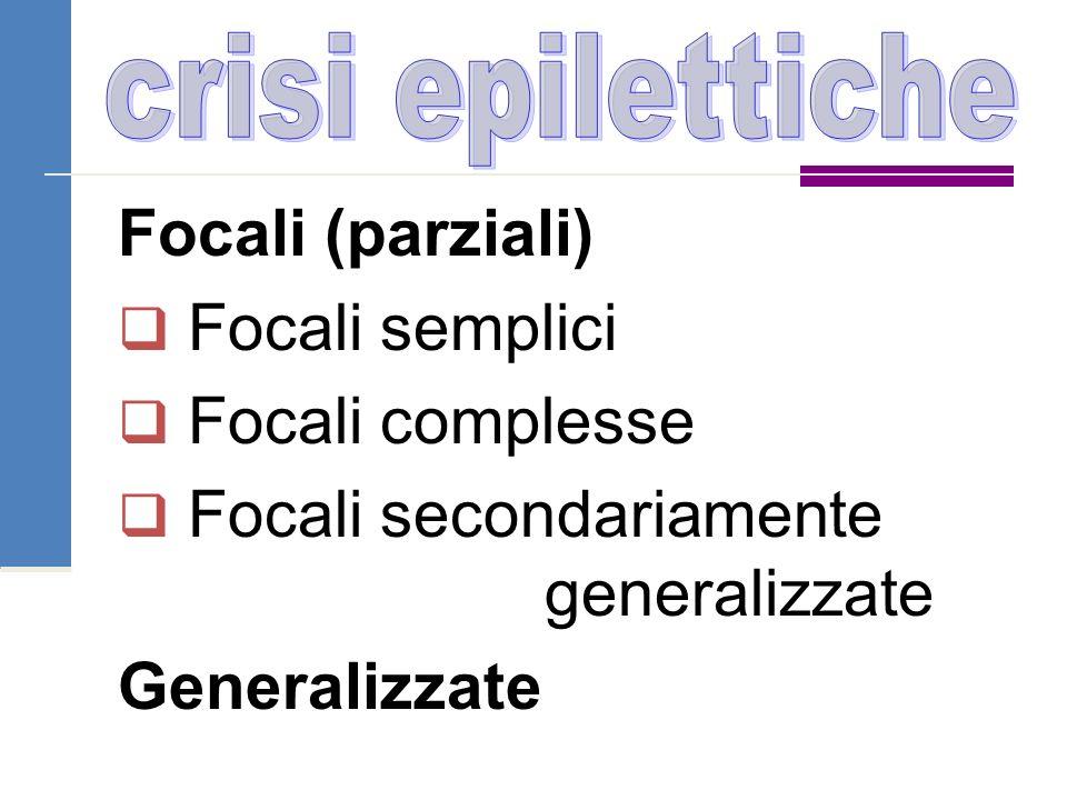 Focali (parziali)  Focali semplici  Focali complesse  Focali secondariamente generalizzate Generalizzate