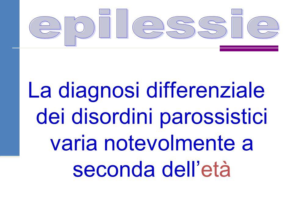 La diagnosi differenziale dei disordini parossistici varia notevolmente a seconda dell'età