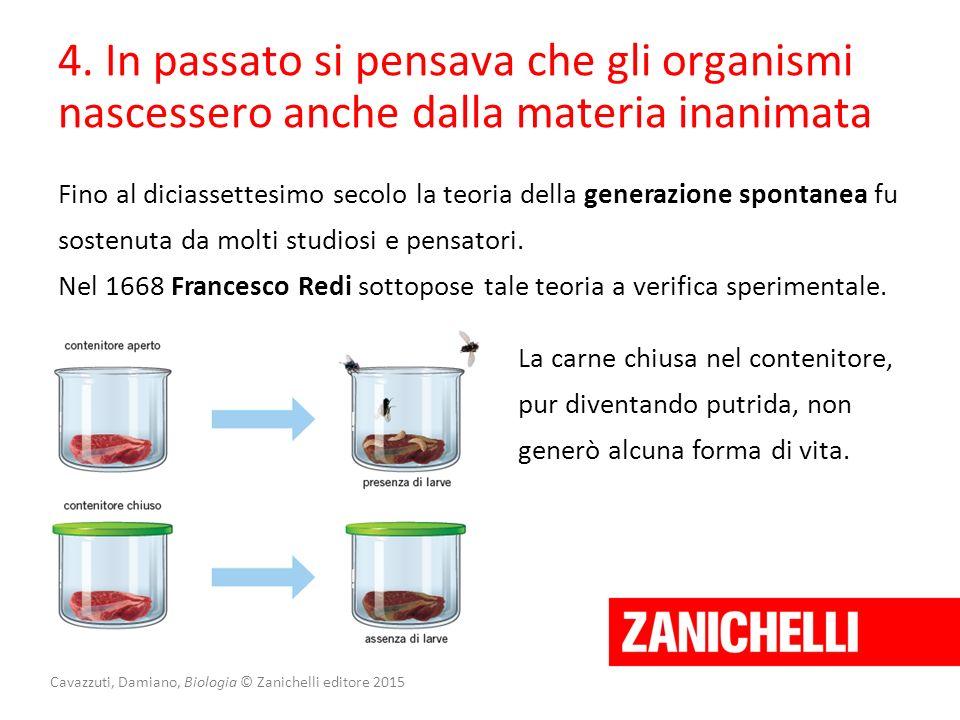 Cavazzuti, Damiano, Biologia © Zanichelli editore 2015 4. In passato si pensava che gli organismi nascessero anche dalla materia inanimata Fino al dic