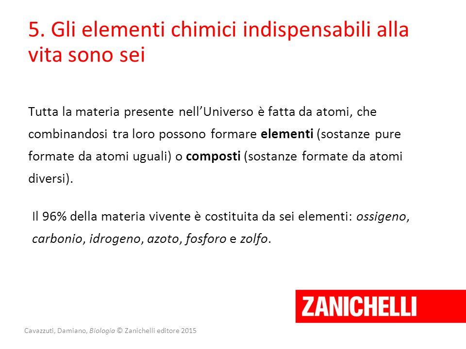 5. Gli elementi chimici indispensabili alla vita sono sei Tutta la materia presente nell'Universo è fatta da atomi, che combinandosi tra loro possono