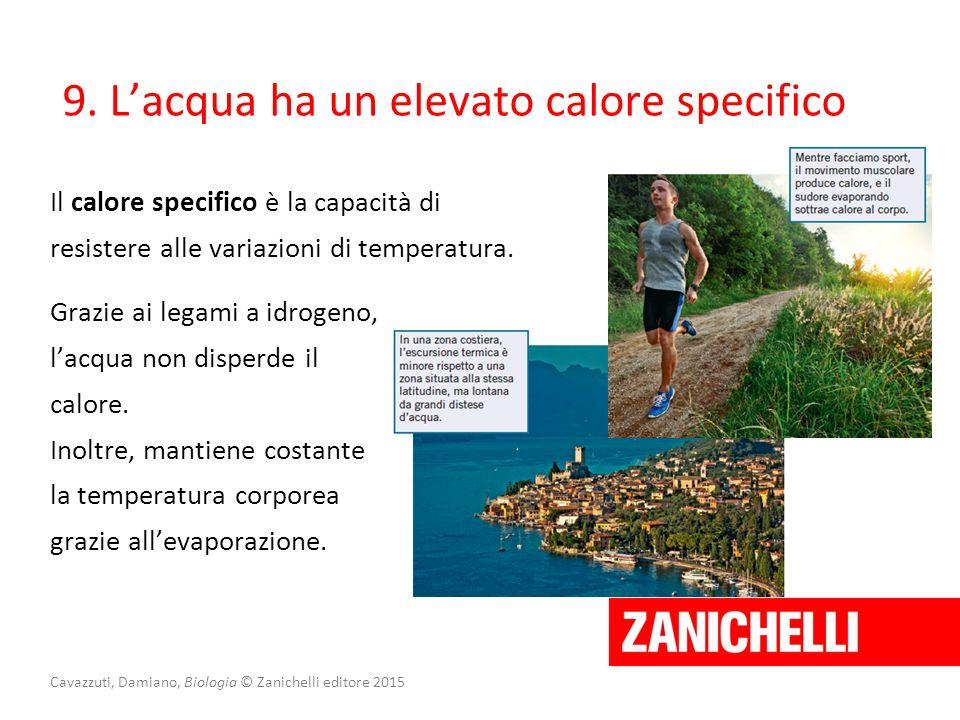 Cavazzuti, Damiano, Biologia © Zanichelli editore 2015 Il calore specifico è la capacità di resistere alle variazioni di temperatura. 9. L'acqua ha un
