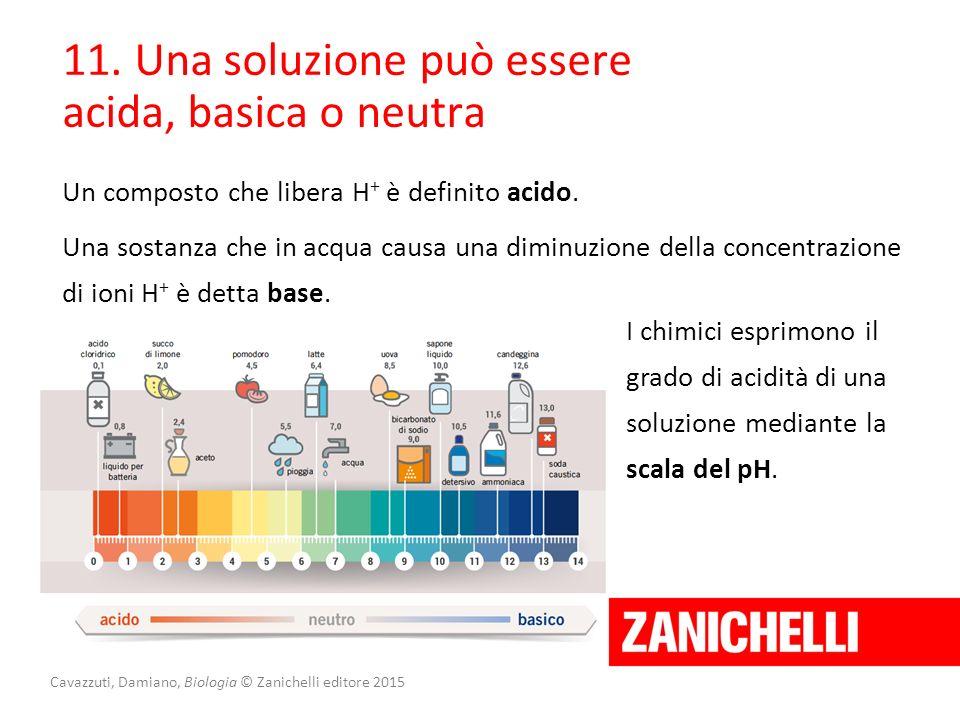 Cavazzuti, Damiano, Biologia © Zanichelli editore 2015 11. Una soluzione può essere acida, basica o neutra Un composto che libera H + è definito acido