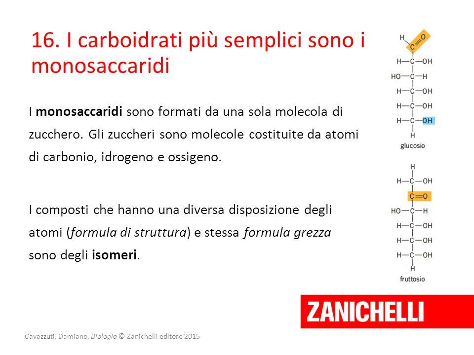 16. I carboidrati più semplici sono i monosaccaridi I composti che hanno una diversa disposizione degli atomi (formula di struttura) e stessa formula