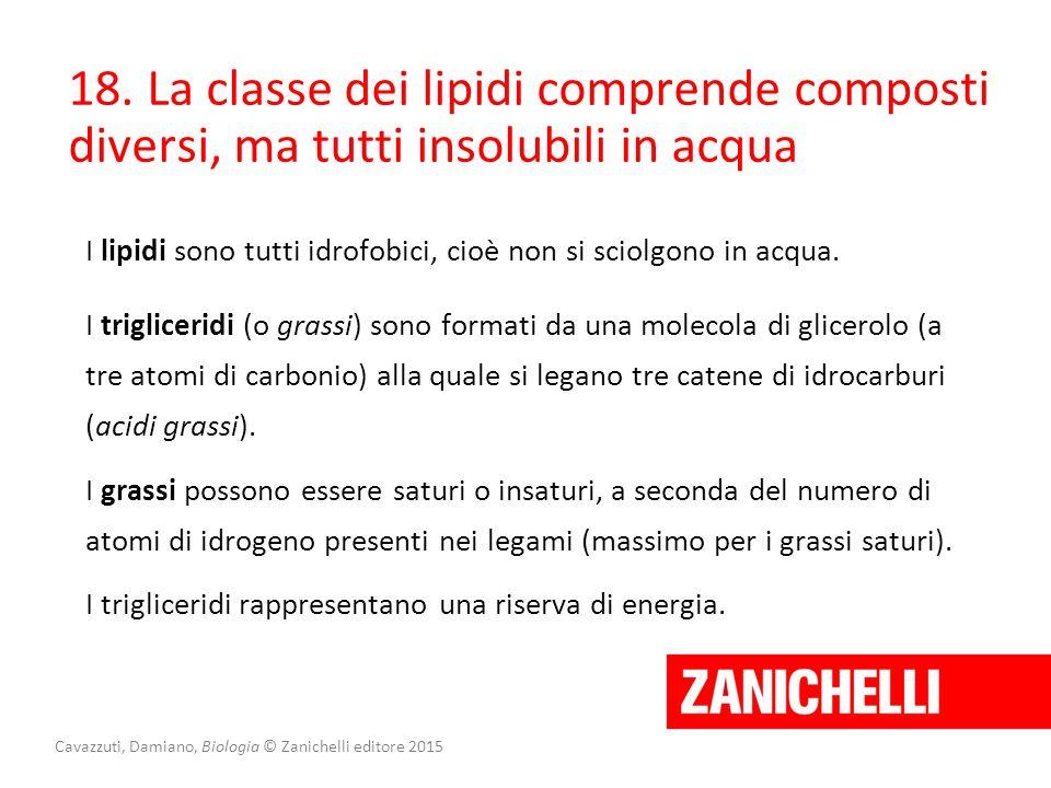 Cavazzuti, Damiano, Biologia © Zanichelli editore 2015 18. La classe dei lipidi comprende composti diversi, ma tutti insolubili in acqua I lipidi sono