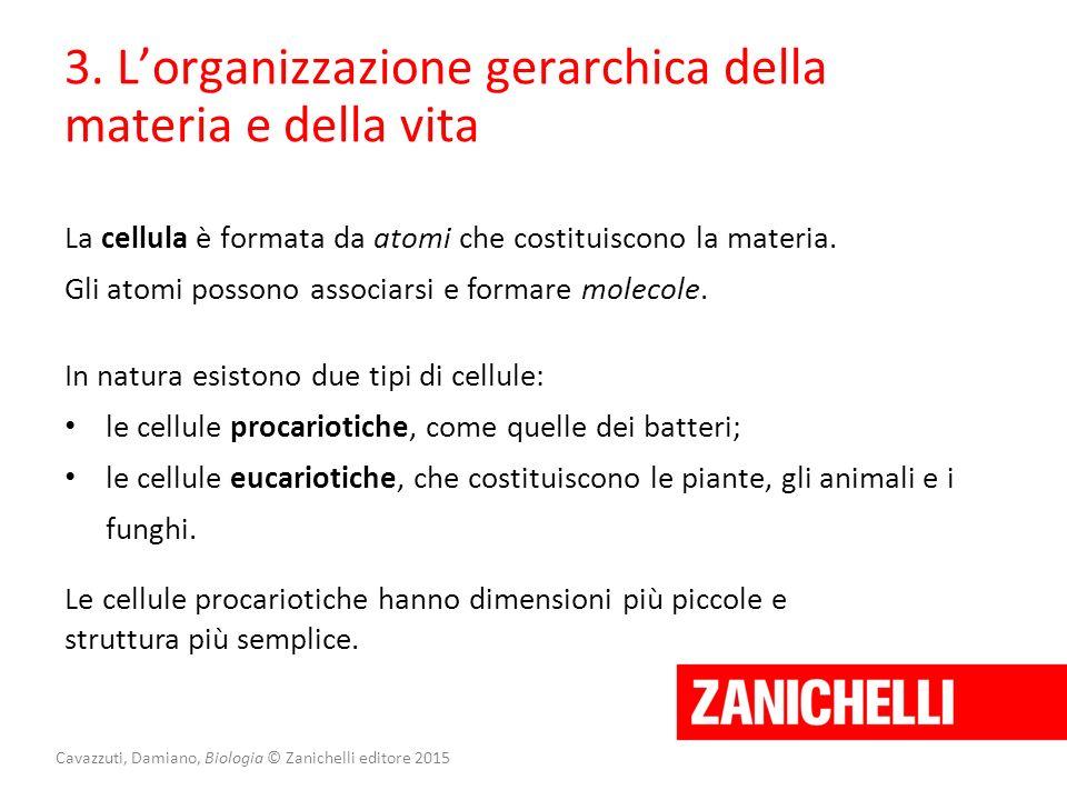Cavazzuti, Damiano, Biologia © Zanichelli editore 2015 3. L'organizzazione gerarchica della materia e della vita La cellula è formata da atomi che cos