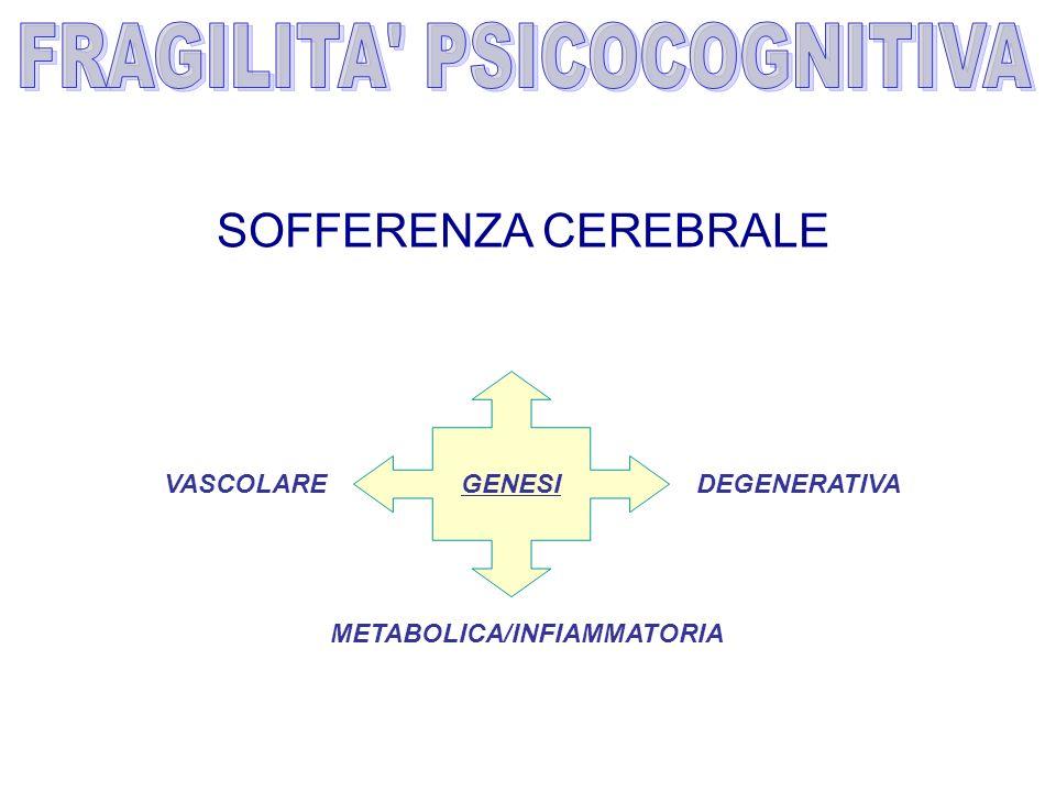 GENESI METABOLICA/INFIAMMATORIA DEGENERATIVAVASCOLARE SOFFERENZA CEREBRALE