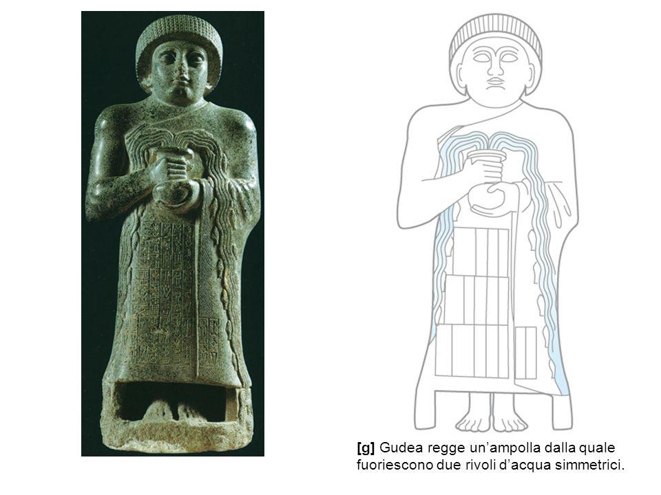 [g] Gudea regge un'ampolla dalla quale fuoriescono due rivoli d'acqua simmetrici.