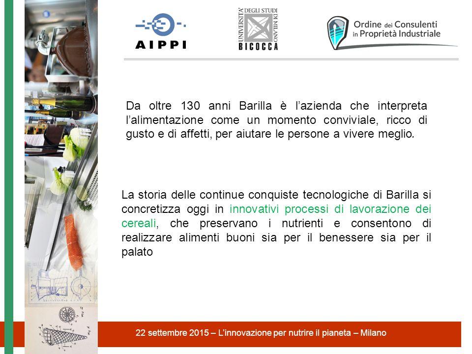 22 settembre 2015 – L'innovazione per nutrire il pianeta – Milano Da oltre 130 anni Barilla è l'azienda che interpreta l'alimentazione come un momento
