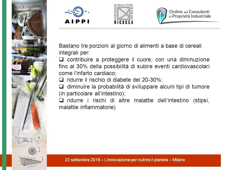 22 settembre 2015 – L'innovazione per nutrire il pianeta – Milano Bastano tre porzioni al giorno di alimenti a base di cereali integrali per:  contri