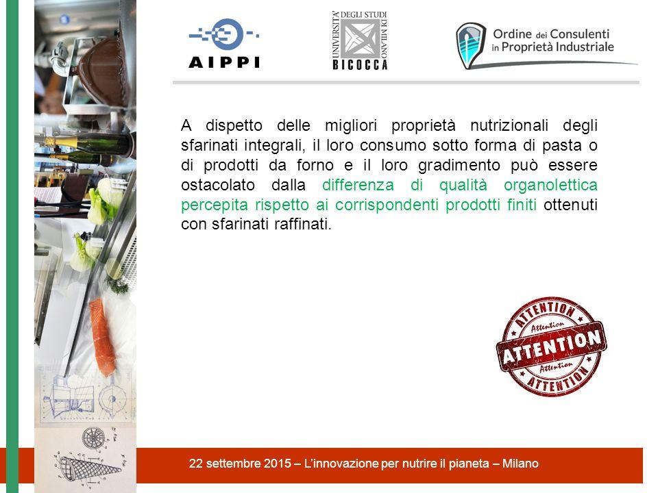 22 settembre 2015 – L'innovazione per nutrire il pianeta – Milano A dispetto delle migliori proprietà nutrizionali degli sfarinati integrali, il loro
