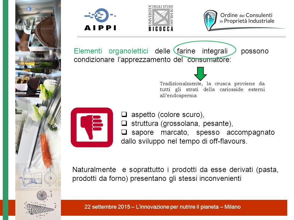 22 settembre 2015 – L'innovazione per nutrire il pianeta – Milano  aspetto (colore scuro),  struttura (grossolana, pesante),  sapore marcato, spess