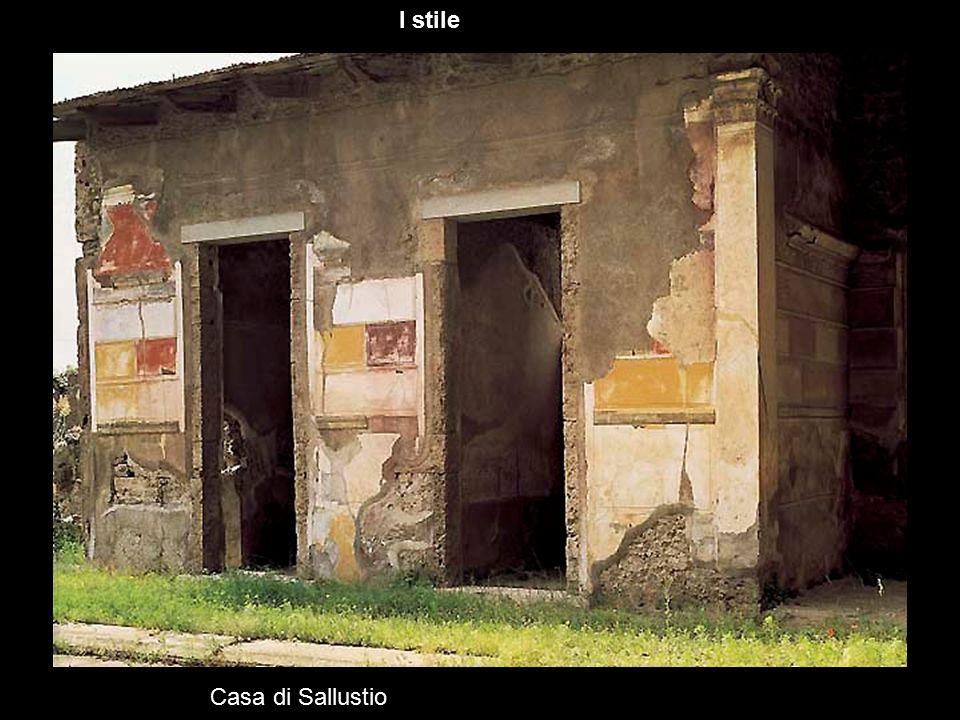 Casa di Poppea cubiculum II stile Caratteristica di questo tipo di decorazione è che le architetture sono sempre credibili, non vi è cioè nulla di fantasioso, di sproporzionato o di impossibile da realizzare