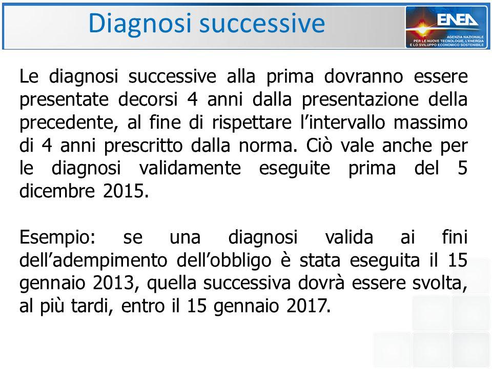 Diagnosi successive Le diagnosi successive alla prima dovranno essere presentate decorsi 4 anni dalla presentazione della precedente, al fine di rispettare l'intervallo massimo di 4 anni prescritto dalla norma.