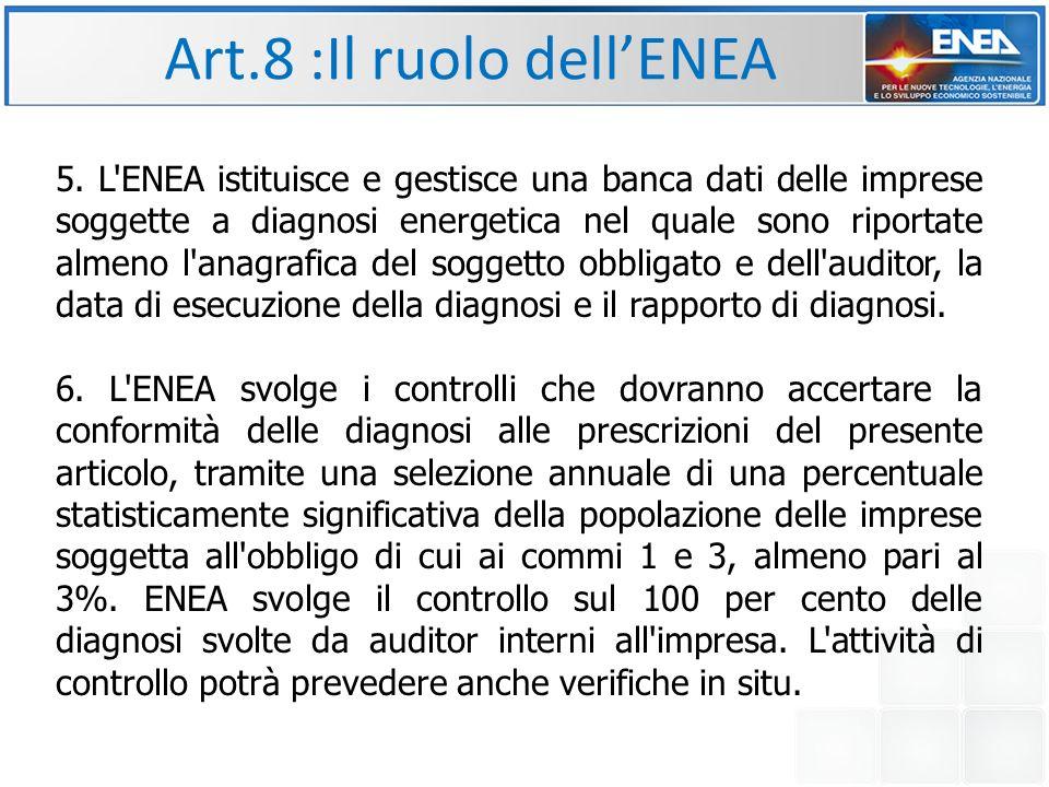 Art.8 :Il ruolo dell'ENEA 5.