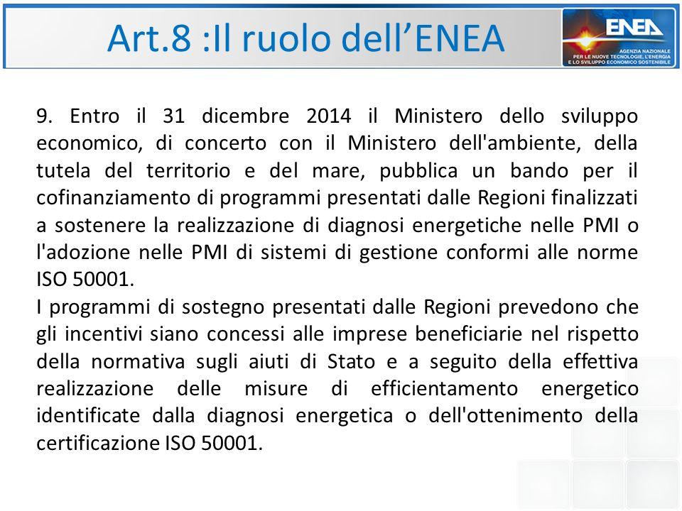 Art.8 :Il ruolo dell'ENEA 9.