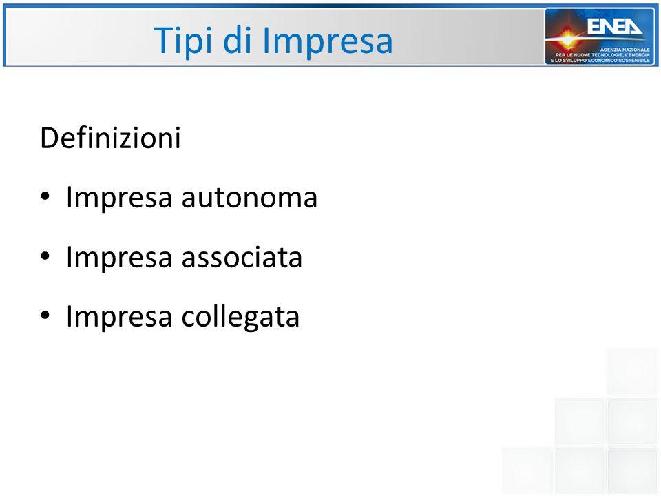 Tipi di Impresa Definizioni Impresa autonoma Impresa associata Impresa collegata