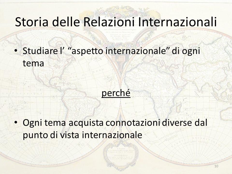 Storia delle Relazioni Internazionali Studiare l' aspetto internazionale di ogni tema perché Ogni tema acquista connotazioni diverse dal punto di vista internazionale 10