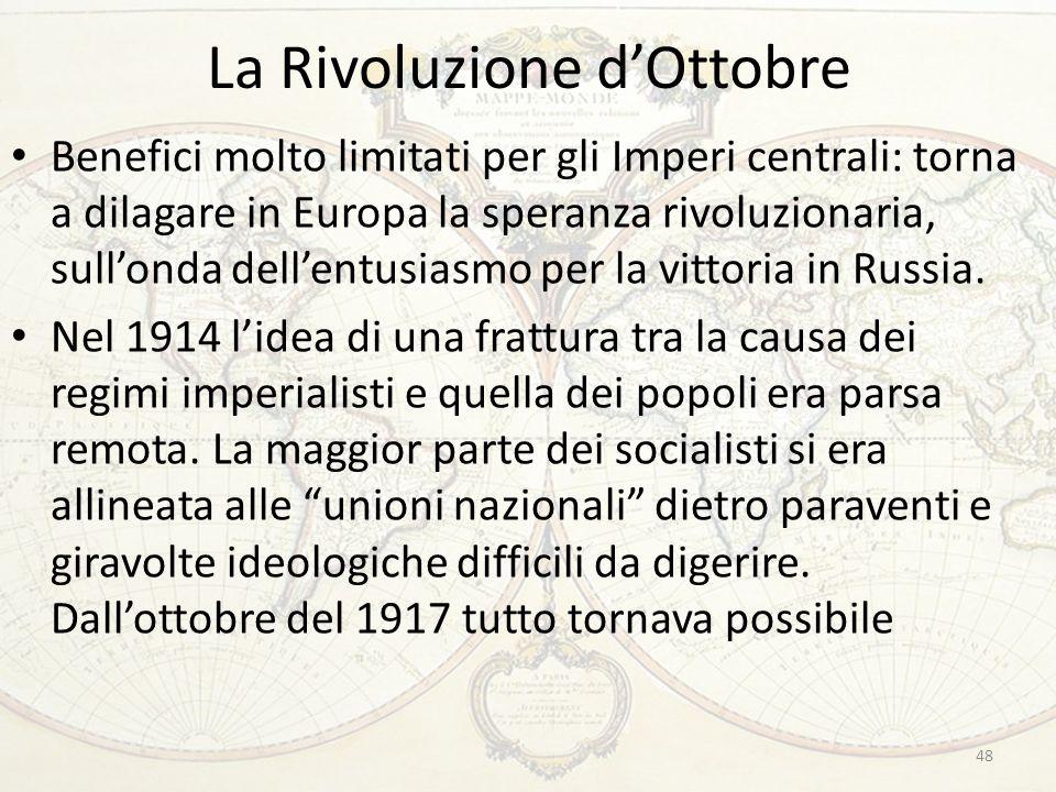 La Rivoluzione d'Ottobre 48 Benefici molto limitati per gli Imperi centrali: torna a dilagare in Europa la speranza rivoluzionaria, sull'onda dell'entusiasmo per la vittoria in Russia.