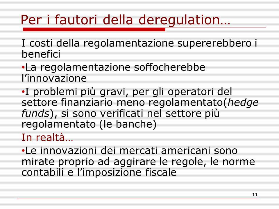 11 Per i fautori della deregulation… I costi della regolamentazione supererebbero i benefici La regolamentazione soffocherebbe l'innovazione I problem