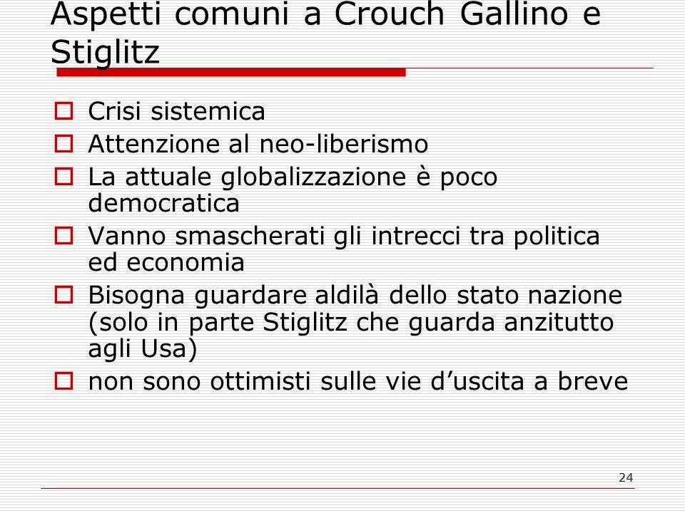 24 Aspetti comuni a Crouch Gallino e Stiglitz  Crisi sistemica  Attenzione al neo-liberismo  La attuale globalizzazione è poco democratica  Vanno